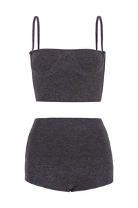 IA Essentials: Dark Grey Cashmere Corset Set