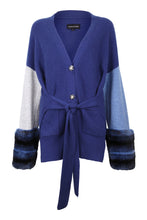 Load image into Gallery viewer, Blue Embellished Belted Cuff Cardigan