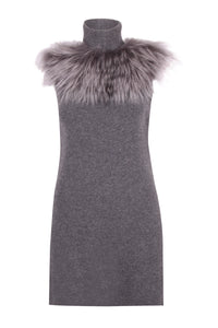 Grey Fur High Neck Blouse