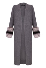 Load image into Gallery viewer, Long Grey Slit Chinchilla Coloured Cuff Cardigan