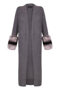 Long Grey Slit Chinchilla Coloured Cuff Cardigan