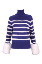 Load image into Gallery viewer, Striped Cropped Faux Cuff Sweater