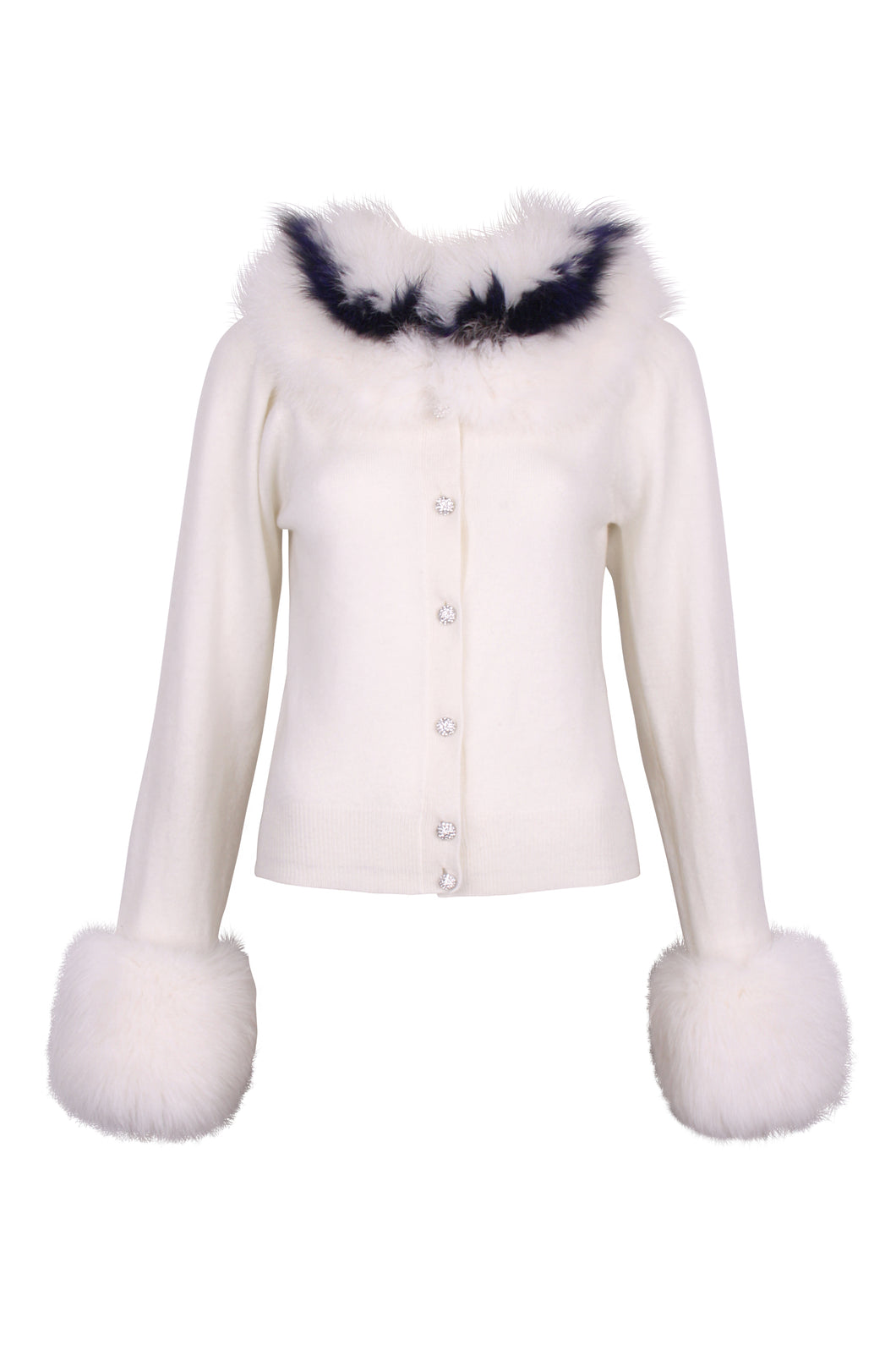 Balloon Sleeves White Buttoned Cardigan