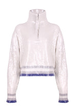 Load image into Gallery viewer, White Sequin Zip Jumper
