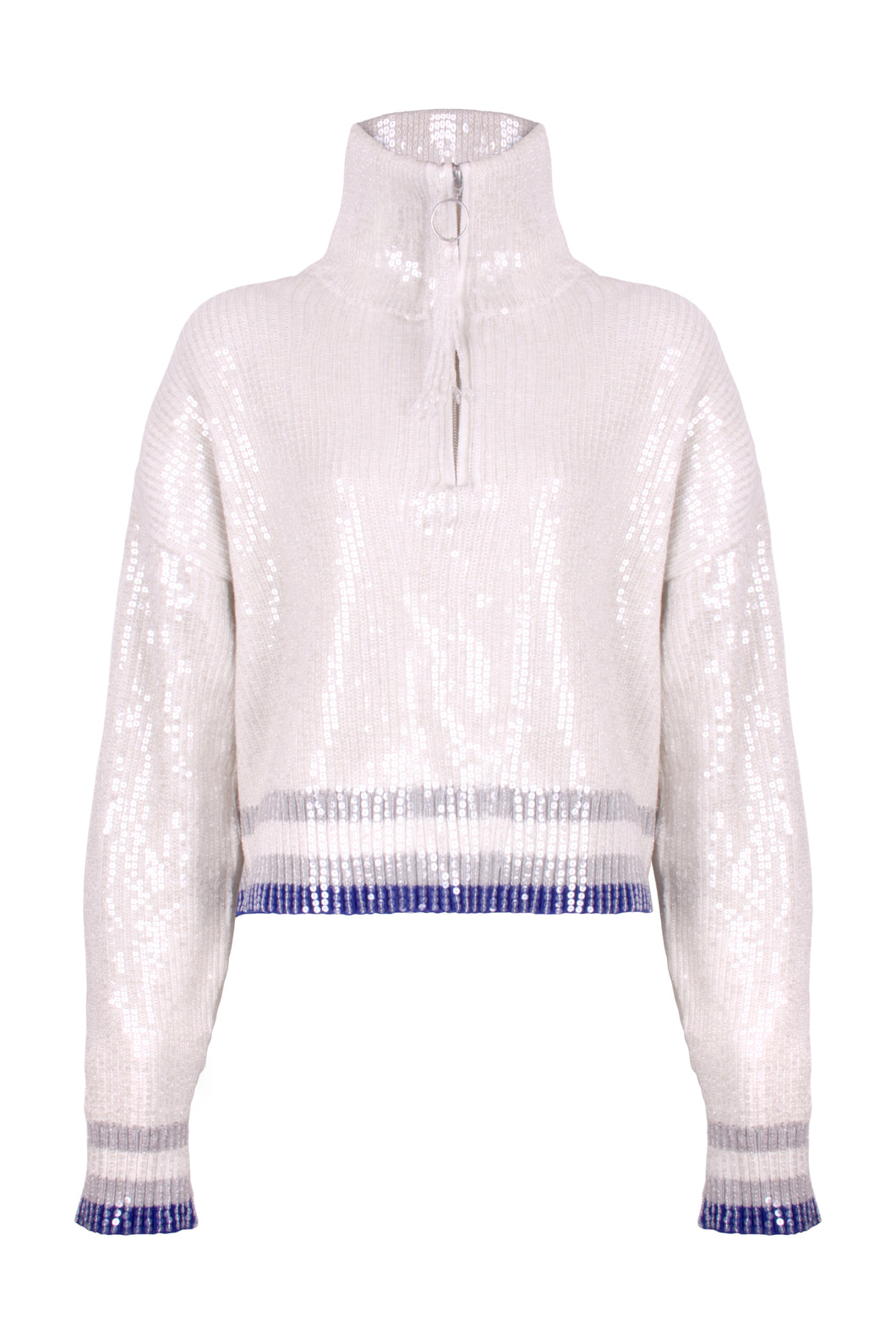 White Sequin Zip Jumper