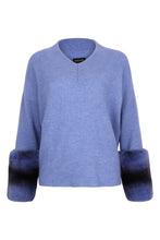 Load image into Gallery viewer, The V Neck Blue Cuff Sweater