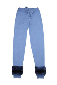 V Neck Chinchilla Coloured Cuff Sweater & Pants Set