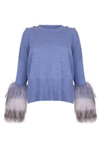 Load image into Gallery viewer, Light Blue Knit Fur Cuff Sweater