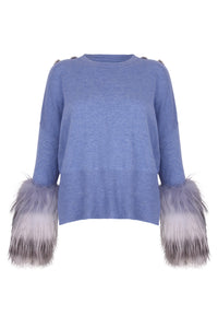 Light Blue Knit Fur Cuff Sweater