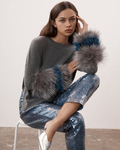 Grey Round Neck Fur Cuff Sweater