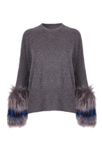 Load image into Gallery viewer, Grey Round Neck Fur Cuff Sweater