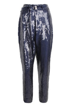 Load image into Gallery viewer, Blue High Waist Sequin Tapered Pants