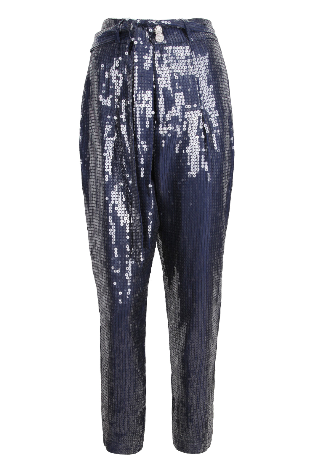 Blue High Waist Sequin Tapered Pants