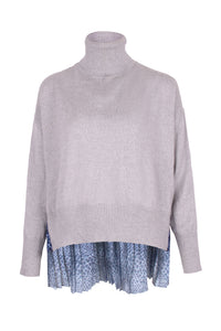 Cropped Pleated Silk Back Sweater