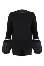 Load image into Gallery viewer, Black Embellished Fur Cuff Sweater