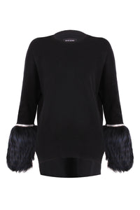 Black Embellished Fur Cuff Sweater