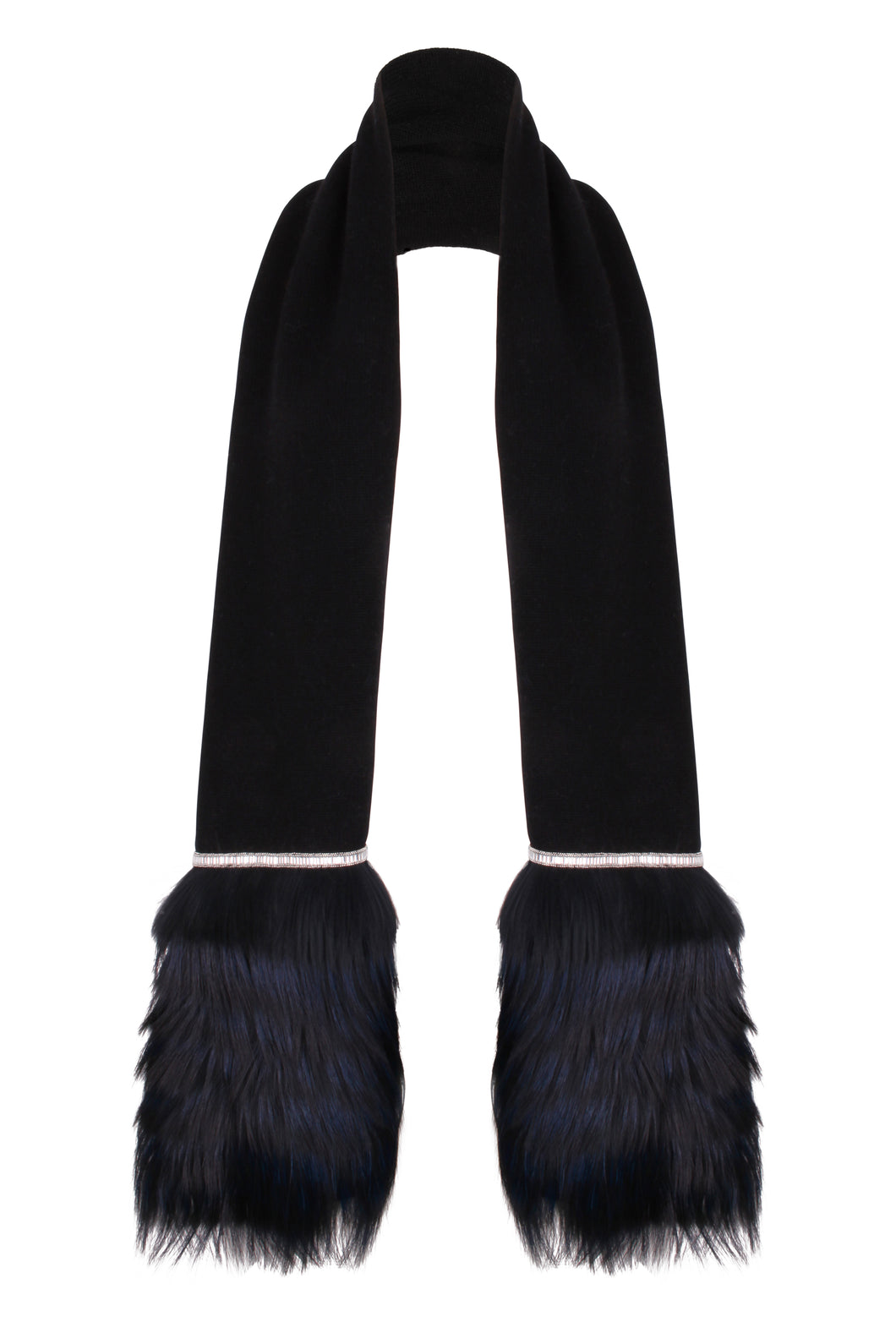 Black Embellished Trim Scarf