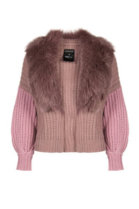 Cropped Fur Collar Cardigan