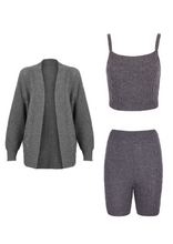 Load image into Gallery viewer, IA Essentials: Charcoal Grey Biker Shorts Set