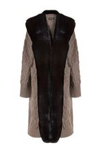 Load image into Gallery viewer, Brown Long Faux Collar Cable Cardigan