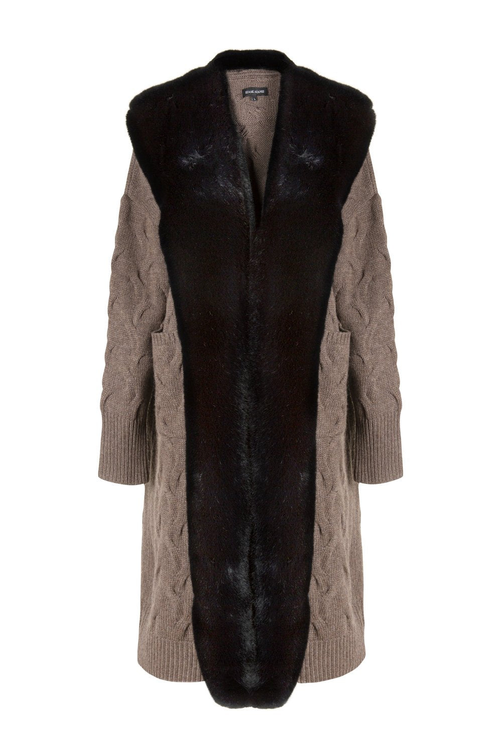 Brown Long Faux Collar Cable Cardigan