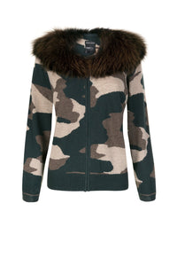 Camo Fur Collar Cardigan