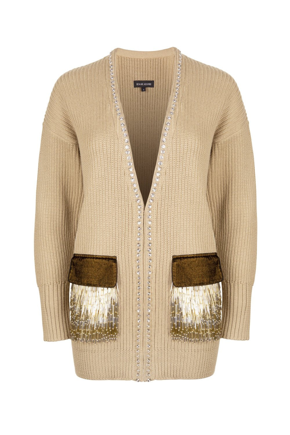 Beige Embellished Velvet Pocket Cardigan
