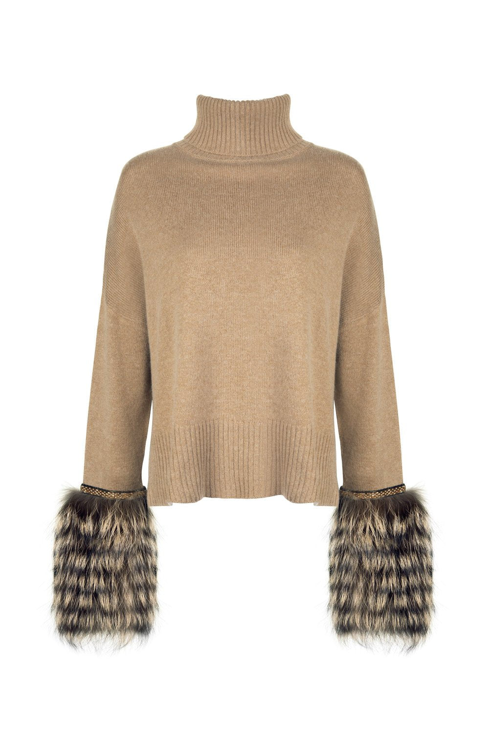 Caramel Embellished Cuff Sweater