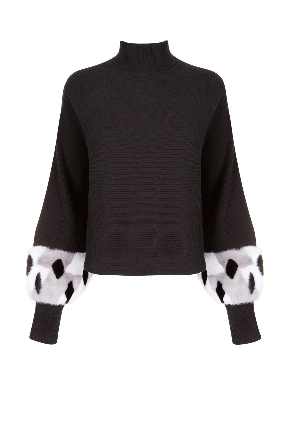 Black Dotted Fur Cuff Sweater