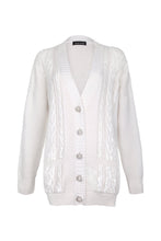 Load image into Gallery viewer, White Sequin Embellished Cable Cardigan