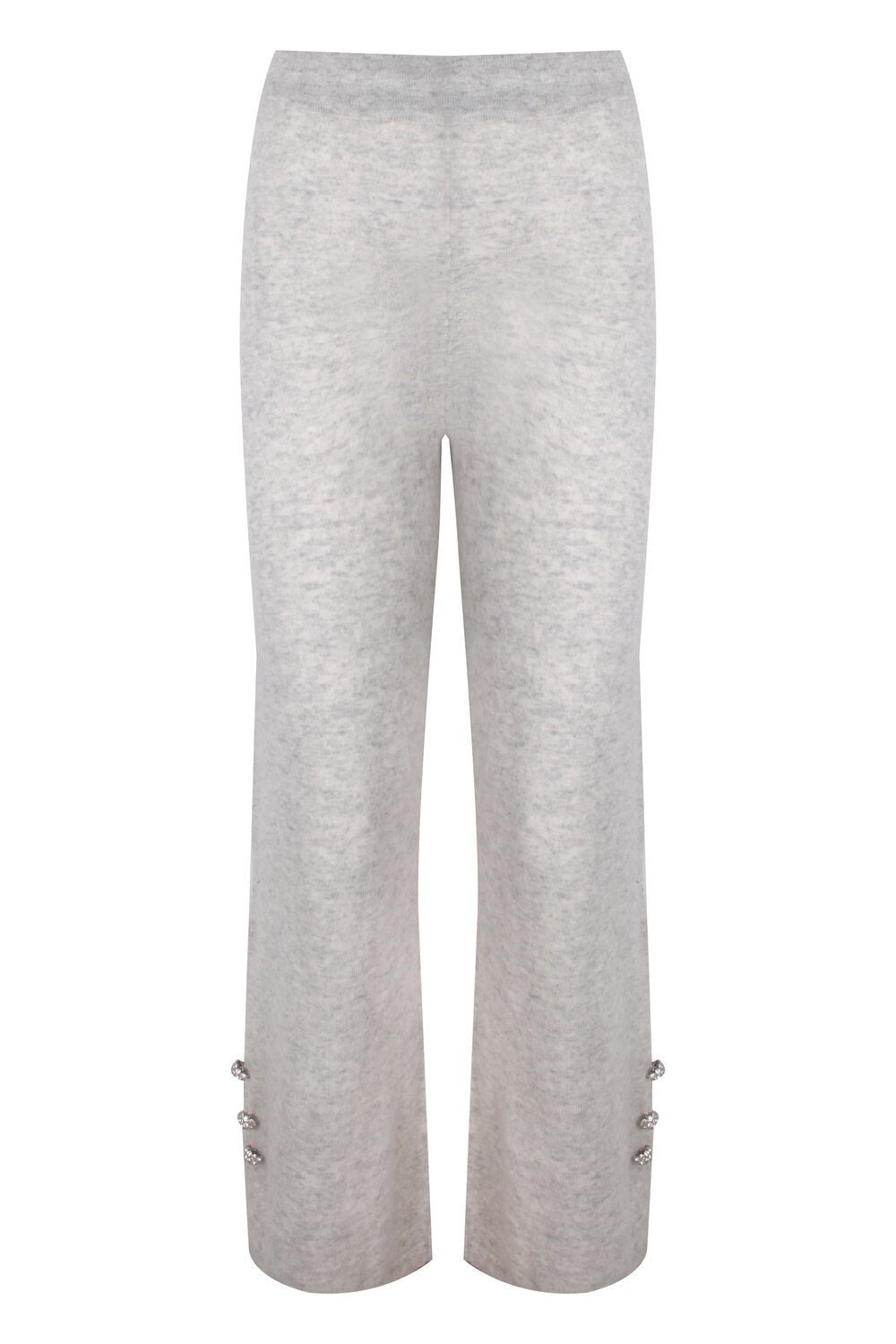 Grey Button Embellished Knit Pants