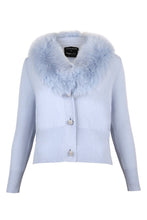 Load image into Gallery viewer, Blue Cropped Buttoned Fur Collar Cardigan