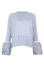 Load image into Gallery viewer, Blue Embellished Fur Cuff Sweater