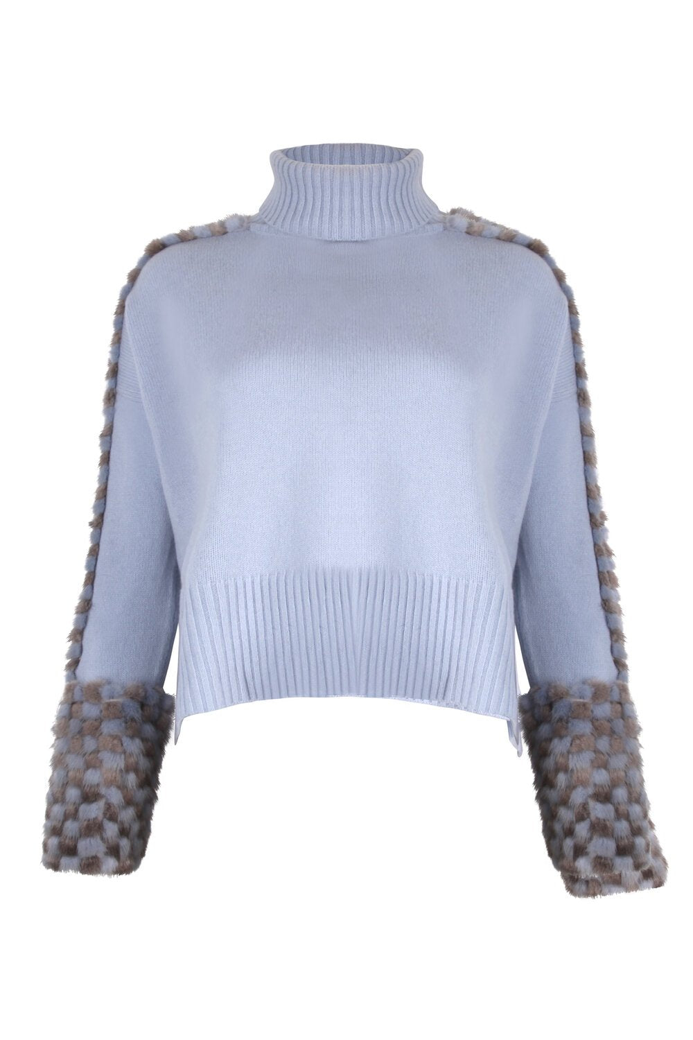Blue Cropped Polo Neck Mink Cuff Sweater