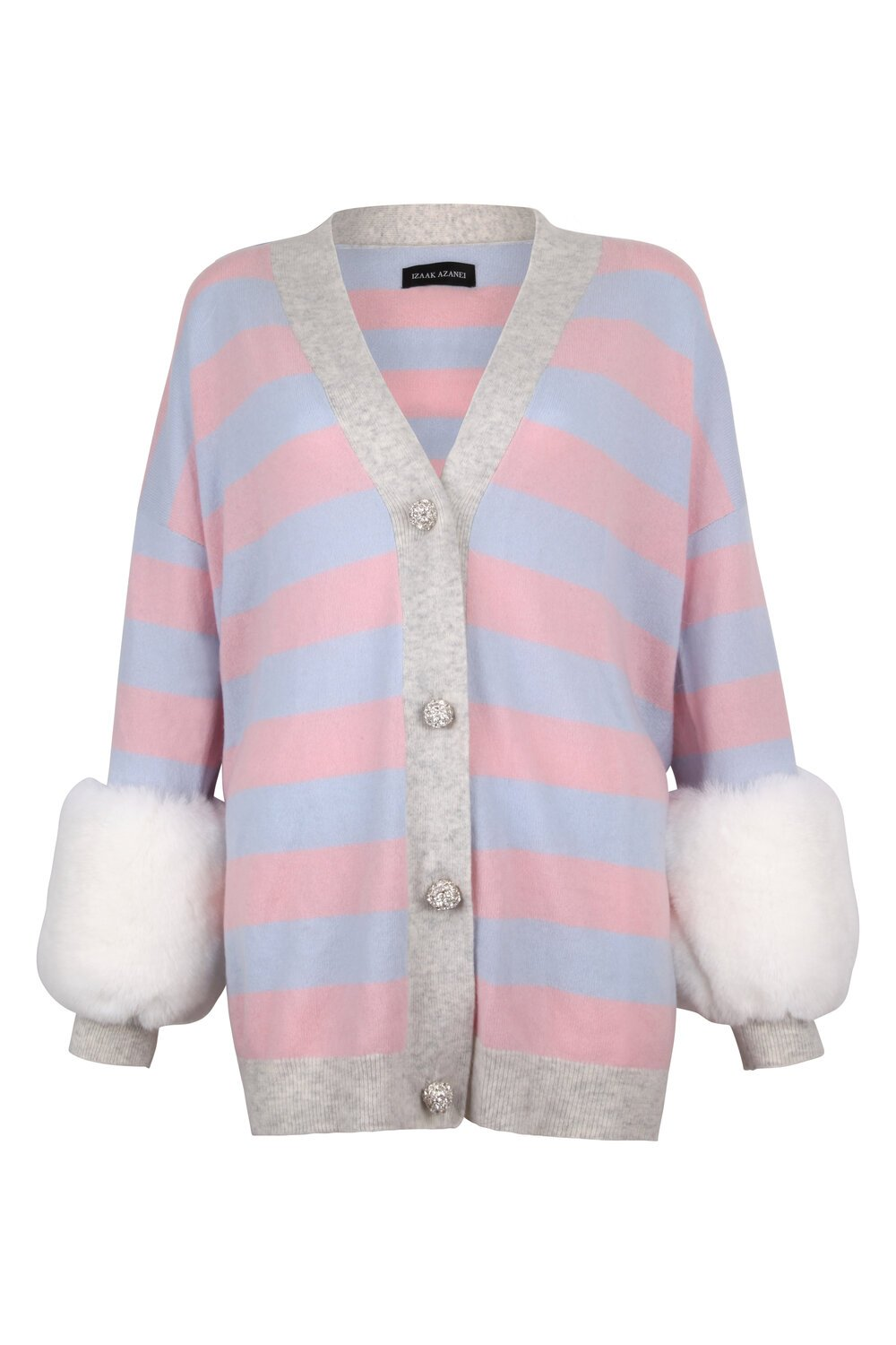 Pink Striped Faux Cuff Cardigan