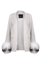 Load image into Gallery viewer, Grey Cable Fur Cuff Cardigan