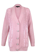 Load image into Gallery viewer, Pink Sequin Embellished Cable Cardigan