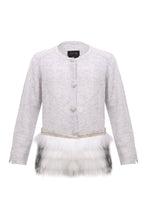 Load image into Gallery viewer, Little IA: Embellished Grey Trim Cardigan