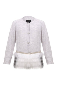 Little IA: Embellished Grey Trim Cardigan