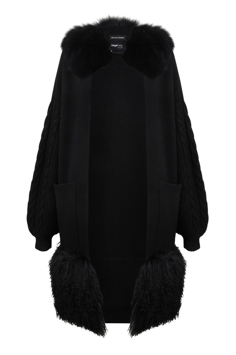 Black Fur Collar Trim Coat