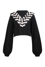 Load image into Gallery viewer, Black Mink V-Necklace Sweater