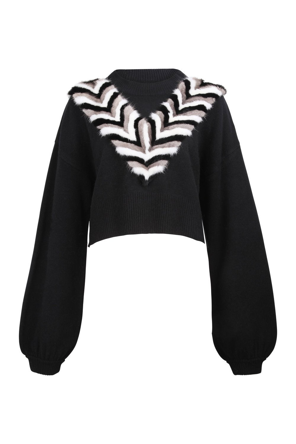 Black Mink V-Necklace Sweater
