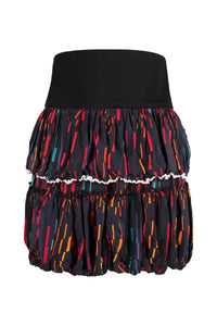 Black Printed Mini Ruffle Skirt