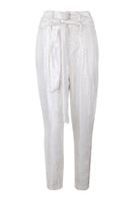 Load image into Gallery viewer, White Sequin High Waisted Tapered Pants
