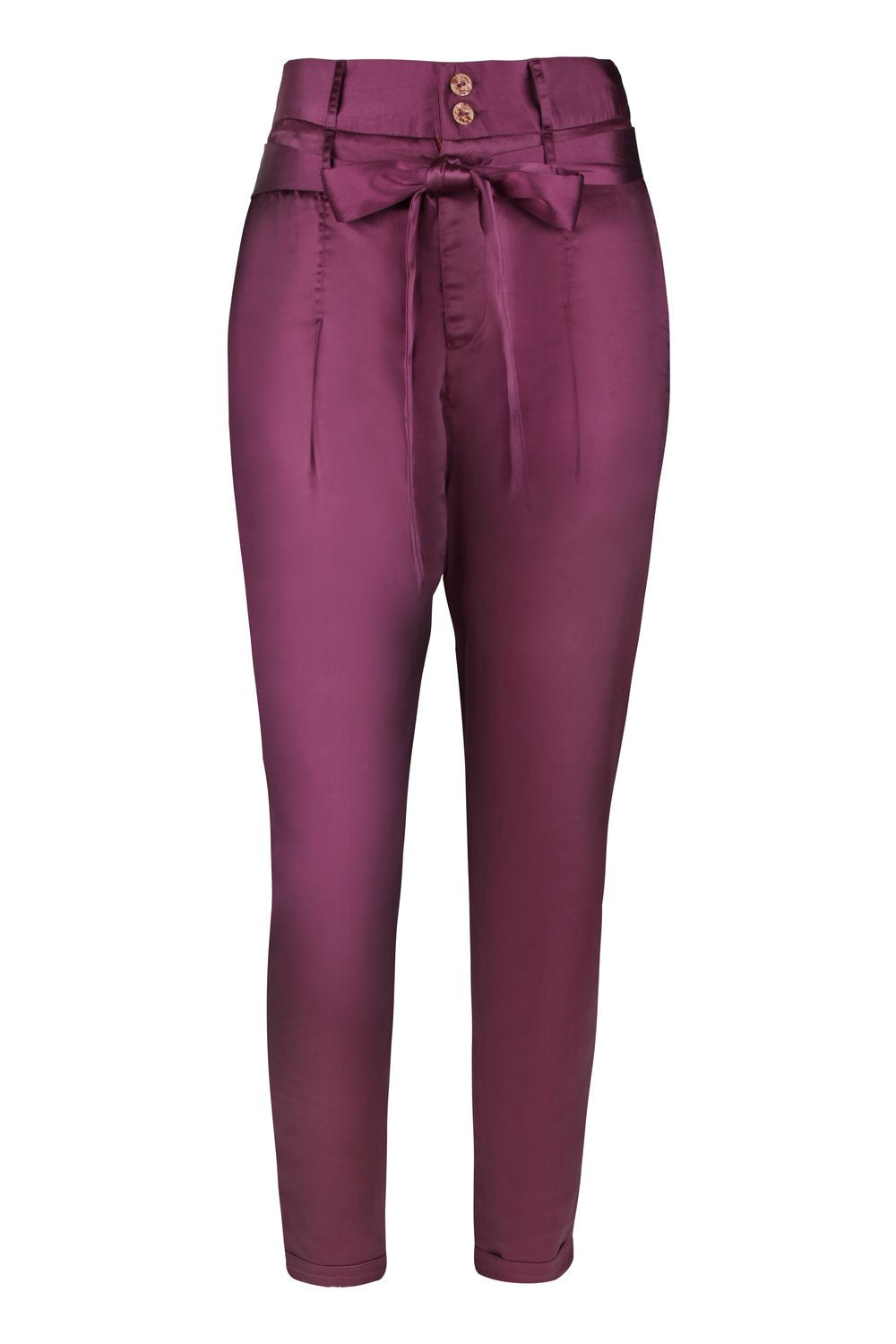 Purple High Waisted Tapered Pants