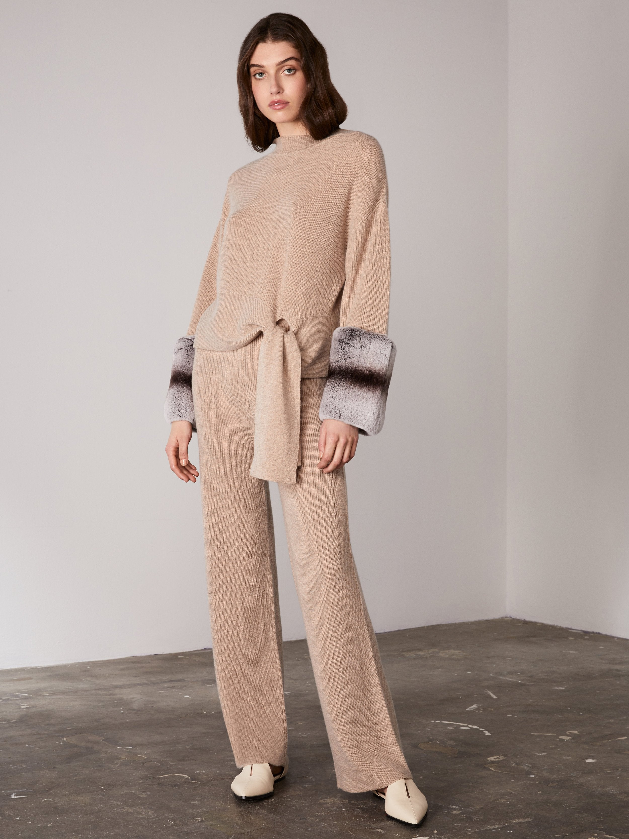 Beige Tie Detail Knit Sweater