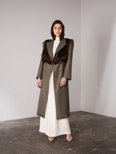 Load image into Gallery viewer, Brown Woven Jacquard Feather Lapel Coat