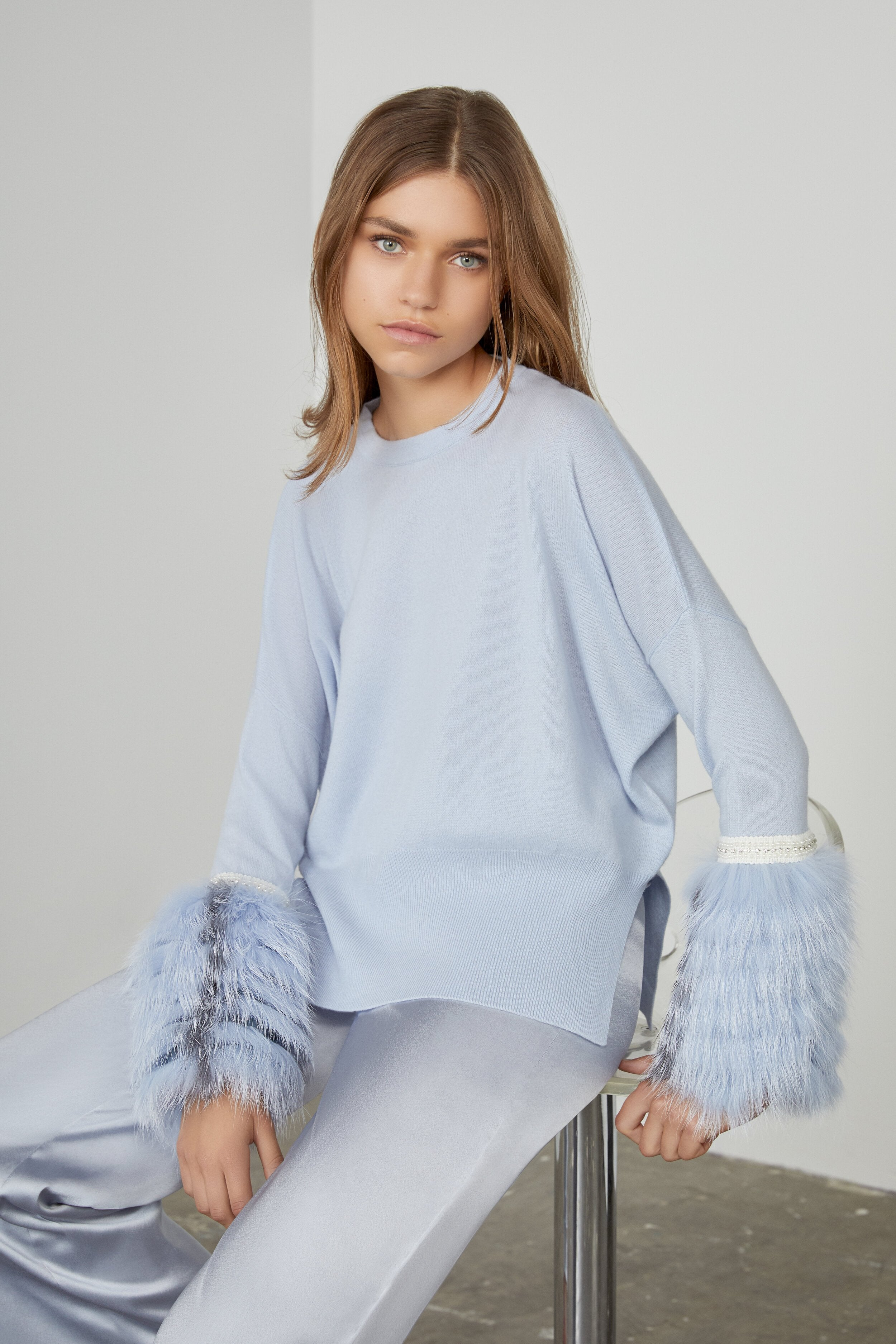 Blue Embellished Fur Cuff Sweater