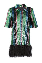 Load image into Gallery viewer, Multicolour Sequin Feather Trim Dress