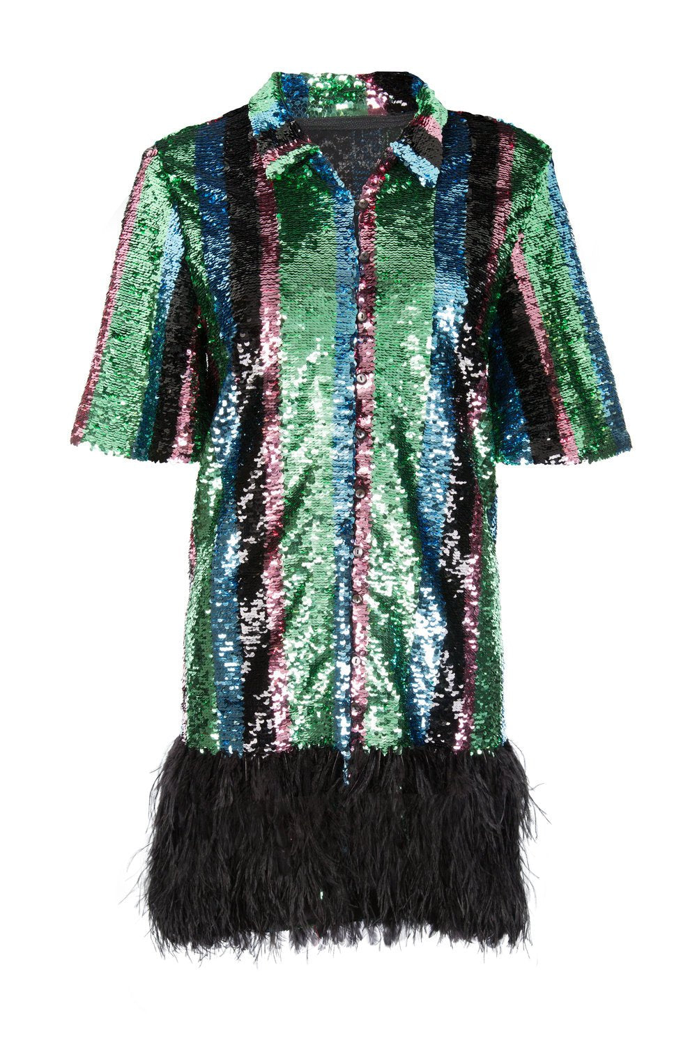 Multicolour Sequin Feather Trim Dress